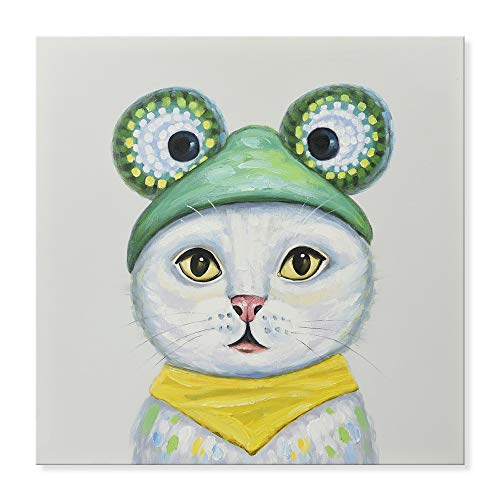 SEVEN WALL ARTS -Modern Hand-Painted Oil Painting Animal Cute Pet Cat in Costume Party Artwork with Stretched Frame for Home Decor 24 x 24 Inch -