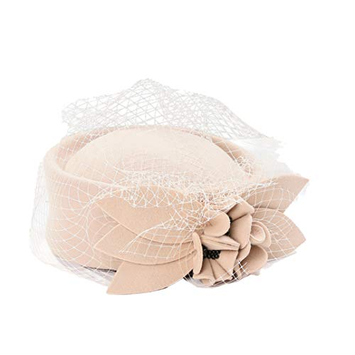 (Women Fascinators Veil Formal Cocktail Race Felt Wool Pill Box Hat Women Tea Party Wedding Caps Camel)