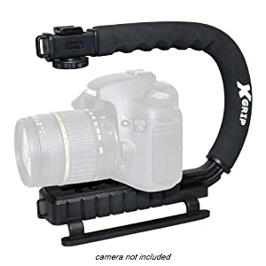 Opteka X-GRIP Professional Camera Stabilizing Action Video Support Handle for Canon EOS 1D 1Ds 5D Mark 2 3 II III 6D 7D 70D Rebel SL1 XT XTi XS XSi T1i T2i T3 T3i T4i T5 T5i SX40 SX50 IS HS