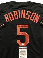 "Autographed/Signed Brooks Robinson Inscribed ""HOF 83"" Baltimore Orioles Black Baseball Jersey JSA COA"