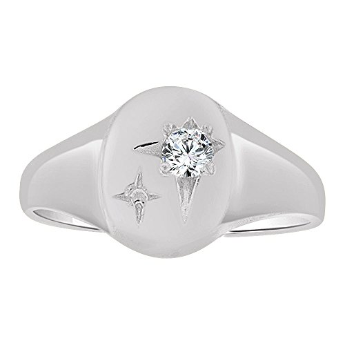 14k Gold White Rhodium, Small Child or Adult Pinky Ring Created CZ Crystal by GiveMeGold