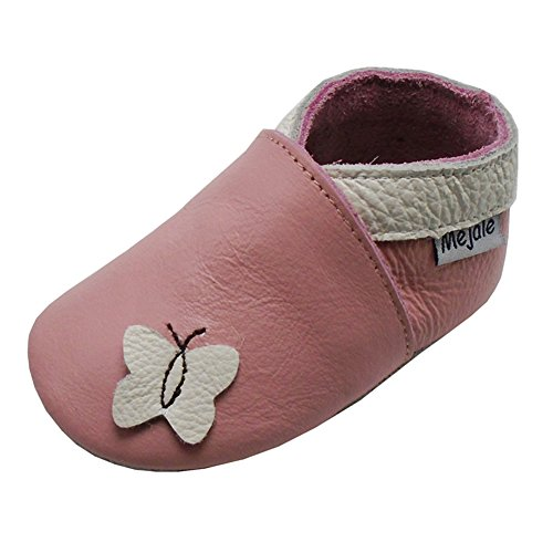 Mejale Baby Shoes Soft Sole Leather Crawling Moccasins Cartoon Butterfly Infant Toddler First Walker Slippers(18-24 Months, Pink)