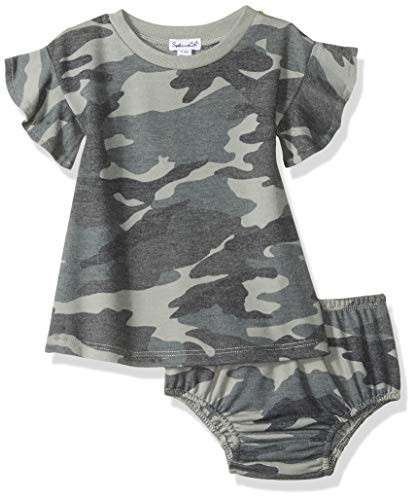 Splendid Baby and Toddler Girls' Dress Set, Short & Long-Sleeve, Dusty Olive Camo, 3/6 Months