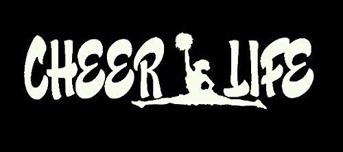 Cheer Life Cheerleader Decal Vinyl Sticker|Cars Trucks Vans Walls Laptop| White |7.5 x 2.5 (Dallas Cowboy Cheer Costumes)