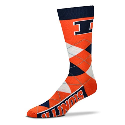 Acrylic Fighting Illini Football (For Bare Feet NCAA Argyle Lineup Unisex Crew Dress Socks-One Size Fits Most-Illinois Fighting Illini)