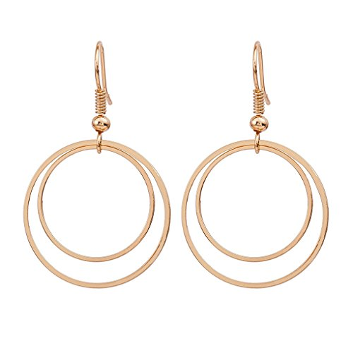 MUZHE Double Circle Hoop Earrings for Women,Gold Silver Mental Hoop Dangle Earrings for Girls (gold)