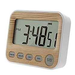 Fiesta 12/24H LCD Digital Screen Kitchen Timer Square Cooking Count Up Countdown Alarm Magnet Clock Temporizador: Wood