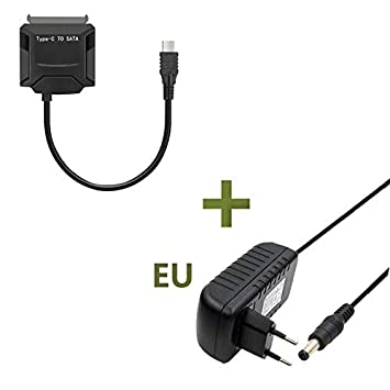 FidgetFidget Type-C to SATA Hard Drive Converter Cable for SSD HDD 12v Power Adapter 2.5 3.5
