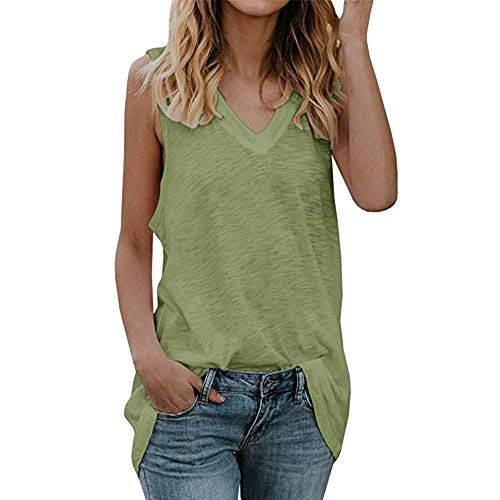 YAOSHENG Cotton Loose Fit Tank Tops-Relaxed Athletic Workout Flowy for Women Green XL