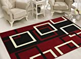 Sweet Home Stores Modern Boxes Design Area Rug, 8'2″ X9'10, Dark Red