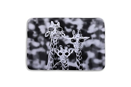 Crystal Emotion 3D giraffe Rugs Bath Mat Bath Rugs Anti-slip Bath Mats Anti-bacterial Non-slip Bathroom Mat Soft Bathmat Bathroom Carpet for Baby Kids Safety with Memory Foam Coral Velvet Fabric