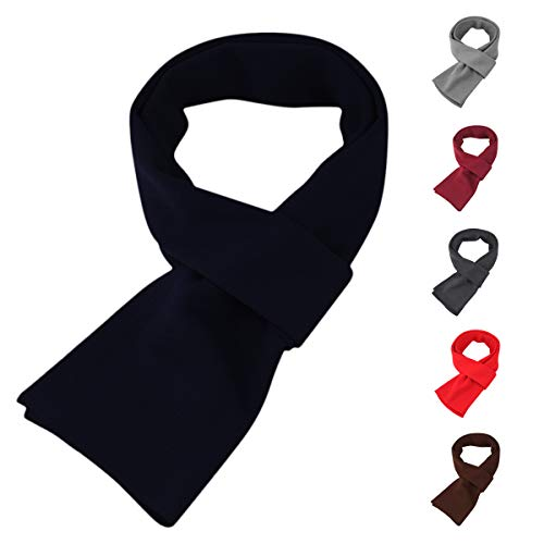 Mens Long Thick Scarf Solid Color Soft Warm Cashmere Feel Scarves Unisex Fashion Scarf Navy Blue