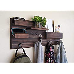 Entryway Organizer Coat Rack with Mail and Phone Storage Ledges and Key Hooks