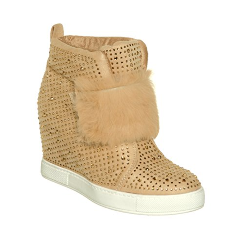 Women's Faux Fur strap Wedge Ankle Sneaker Bootie with Rhinestone Embellishment (Nude, 10)