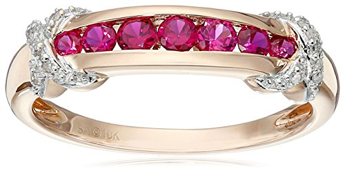 10k-Pink-Gold-Created-Ruby-and-Diamond-Accented-Band-Ring-Size-7