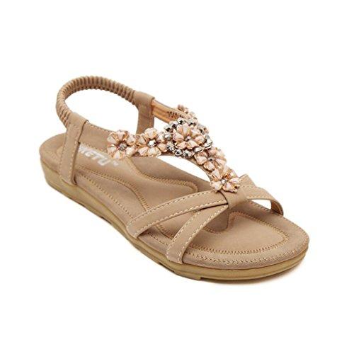 Binying Women's Bohemian Style Flower Ankle Strap Open Toe Flat Sandals Khaki W5CzdVfPV