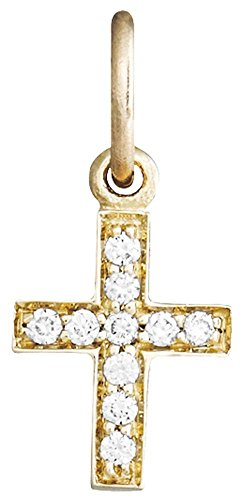 (Helen Ficalora Cross Mini Charm Pave Diamonds Yellow Gold)