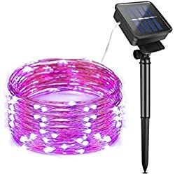 AIMENGTE LED String Lights, LED Fairy Lights Solar Powered, 200 LEDs 66ft Starry Lights Outdoor, IP65 Waterproof Decorative Lamp Christmas, Halloween, Camping, Holiday etc. (20M/66ft, Purple)