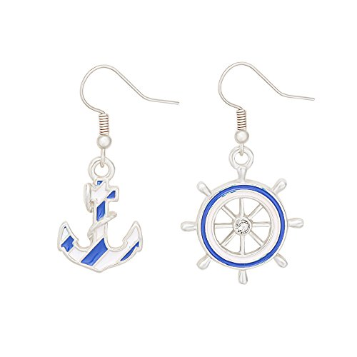 - TUSHUO Anchors Earring Jewelry Navy Blue Enamel Rudder Earring for Women (Silver)