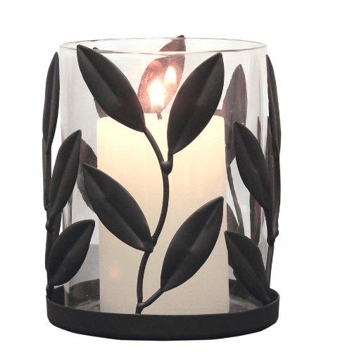(Briarwood Metal Leaf Pillar Holder, Black)