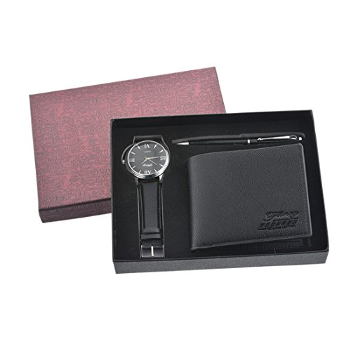 (Loweryeah Black Man Set Three Watch Gift Set Watch + Signature Pen + Wallet)