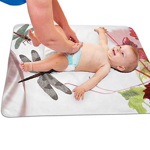 V5DGFJH.B Baby Portable Diaper Changing Pad Spring Dragonfly Urinary Pad Baby Changing Mat 31.5