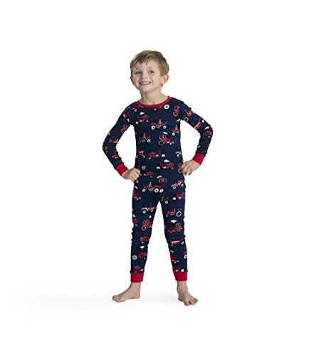 Red Farm Tractor - Hatley Boys' Little Organic Cotton Long Sleeve Printed Pajama Sets, Red Farm Tractor, 3 Years