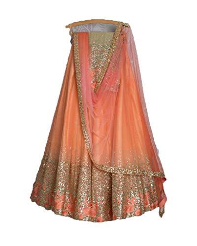 Orange party wear bollywood lehenga choli for women 0037