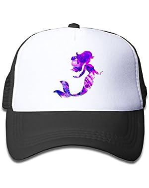 Classic Pretty Mermaid Baseball Cap Adjustable Grid Cap For Children