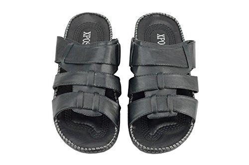 Dessus en cuir pour homme à bout ouvert glisser sur sandales d'été Big Taille Marche vacances plage Mules