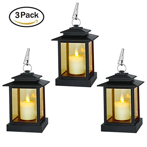 LED Lanterns with Cross Bar Design - Decorative Candle Lanterns, Flameless Candles Battery Operated Candles with Dancing Flame, Indoor and Outdoor Hanging or Sitting Decoration, 5 Hours Timer (3pack) (Decorative Bar)