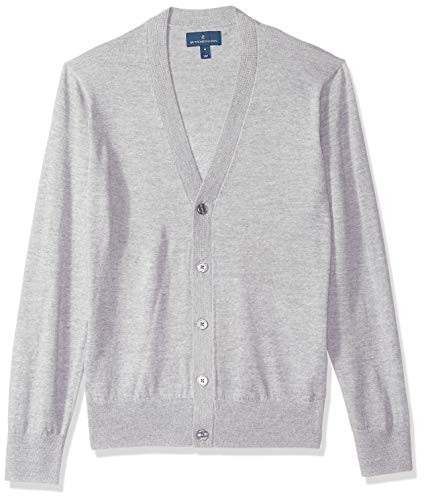 BUTTONED DOWN Men's Italian Merino Wool Lightweight Cashwool Cardigan Sweater, Grey Heather, -