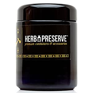 Herb Preserve Half Oz (250 Ml) Capacity Medium Size Screwtop Jar Black Ultraviolet Refillable Glass Stash