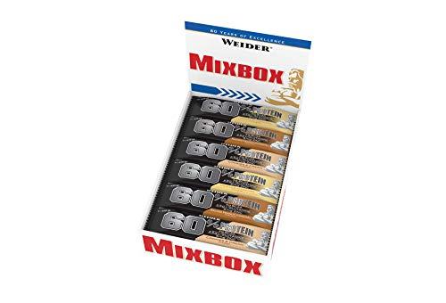 Weider 60% Proteinriegel 45g Mix Box 24 leckere Eiweißriegel, Fitness und Bodybuilding