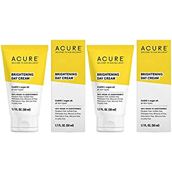 Acure Brilliantly Brightening Day Cream (Pack Of 2) with Gotu Kola Stem Cells, Chlorella Growth Factor, Aloe Vera Juice, Safflower Seed Oil and Red Mandarin Oil, For Normal To Dry Skin, 1.75 Fl. Ounce