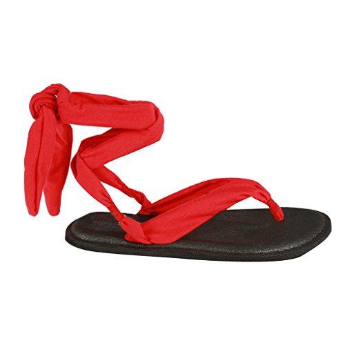 Coshare Kvinnor Mode Diverse Yoga Sele Vippan Platta Sandaler Röd = Tyg Pu Platt