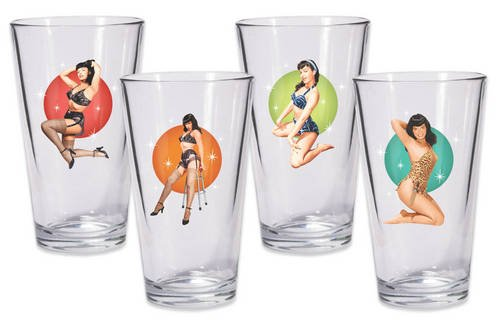 Bettie Page Pint Glass Set of 4