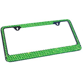 4 Row LIME GREEN Crystal Rhinestone Bling Sparkle License Plate Frame & Caps Set