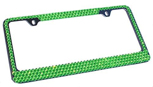bling license plate frame green - 3