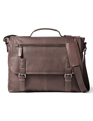 Leather Architect Men's 100% Leather Laptop Bag-Mid Brown