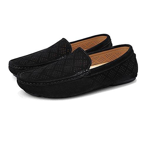 Genuino Barco Superior amp;Baby Sunny Negro los Conducción Gray Transpirable de Color Tamaño Antideslizante Perforación Penny 42 Mocasines Loafers de EU Cuero Hombres 6Fp67qn