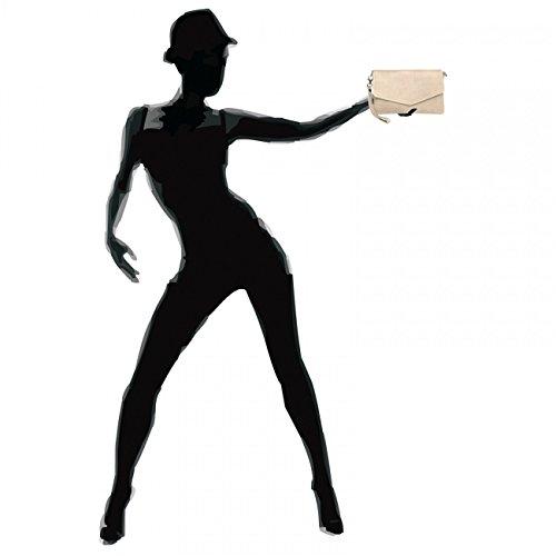 de elegante de hecho CASPAR TA322 Clutch mano cuero Crema Bolso fiesta nappa mujer para Blanco EACqZHwx