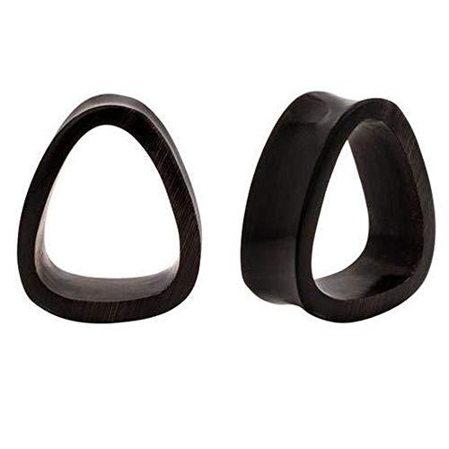 Roots Organics Pair | Oblong Triangle Double Flared Horn Tunnels | 1/2