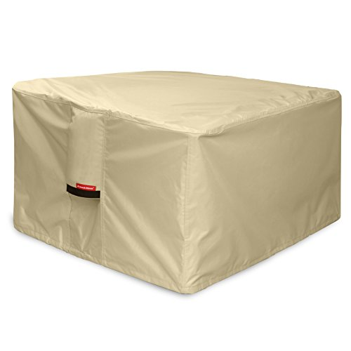 Porch Shield 600D Heavy Duty Patio Square Fire Pit/Table Cover 36 inch, 100% Waterproof, Beige
