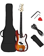 Costzon Full Size Electric 4 String Guitar for Beginner Complete Kit, Rose Fingerboard and Bridge, w/Two Pickups & Two Tone Control, Guitar Bag, Strap, Guitar Pick, Amp Cord