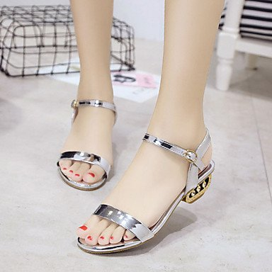 RUGAI-UE Moda de Verano Mujer sandalias casuales zapatos de tacones PU Confort,Negro,US8 / UE39 / UK6 / CN39 Sliver