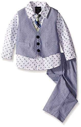 Nautica Baby Chambray Vest Set, White, 6-9 Months