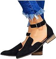 HIRIRI Women's Wide Width Flat Sandals Buckle Strap Summer Shoes Leather Comfortable Closed Toe Beach San