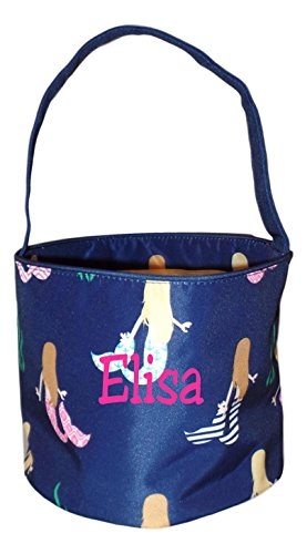 Fabric Bucket Tote Bag for Children - Toys - Easter Basket - Can Be Personalized (Navy Mermaid Print - Embroidered Name)