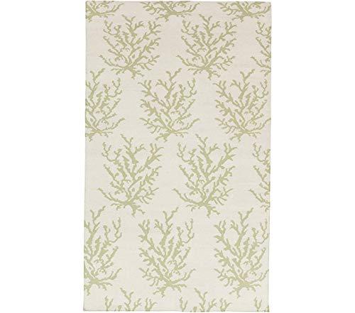 (Beach Decor Premium Somerset Bay by Boardwalk Coastal Flatweave Hand Woven 100% Wool Lettuce Leaf 8' x 11' Area Rug)